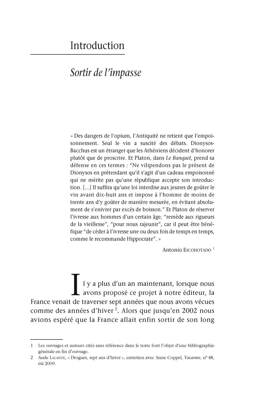 Introduction - Livre / Drogues : Sortir de l'impasse