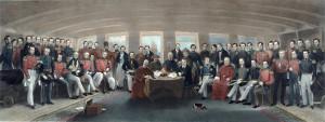 Traité de Nankin, signé le 29 août 1842, à bord du Cornwallis, entre l'Angleterre et la Chine et qui mit fin à la guerre de l'opium.